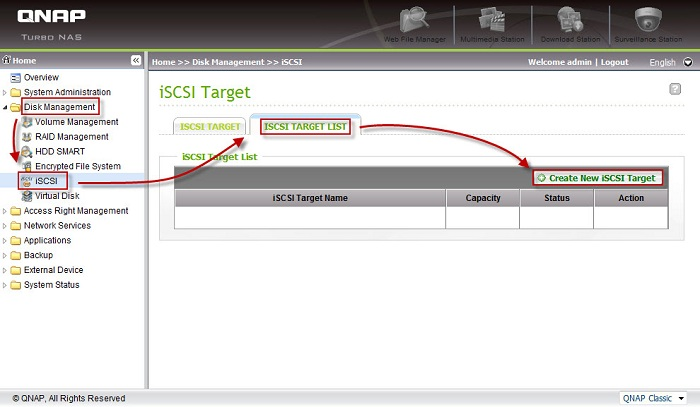 Start the iSCSI target creation wizard