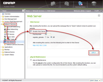 Enable the Apache web server