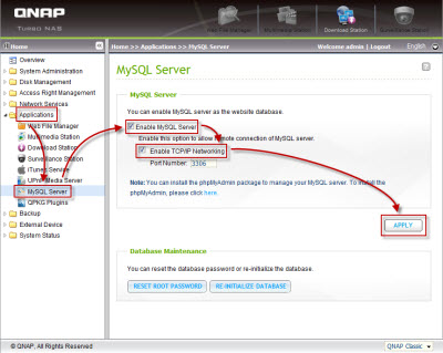 Enable the MySQL database server
