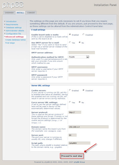 phpBB3 advanced settings