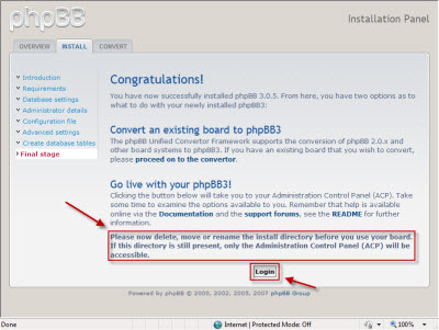 phpBB3 installation completed