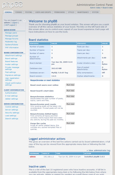 phpBB3 Administration Control Panel