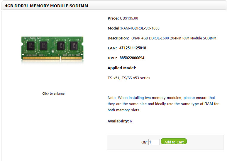 Qnap x51 x53 RAM 4GB
