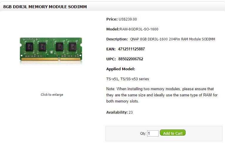 Qnap x51 x53 RAM 8GB