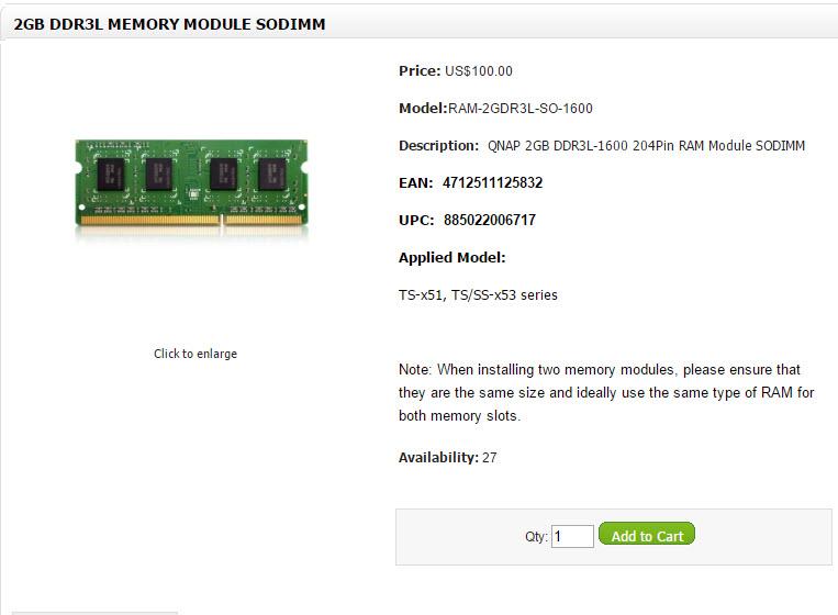 Qnap x51 x53 RAM