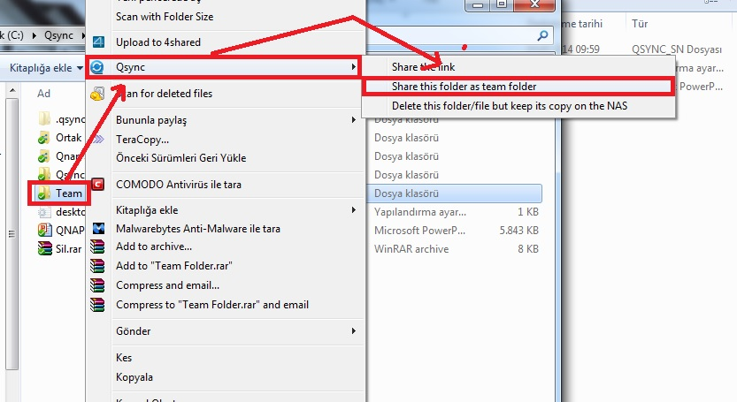 Qsync Team Folder