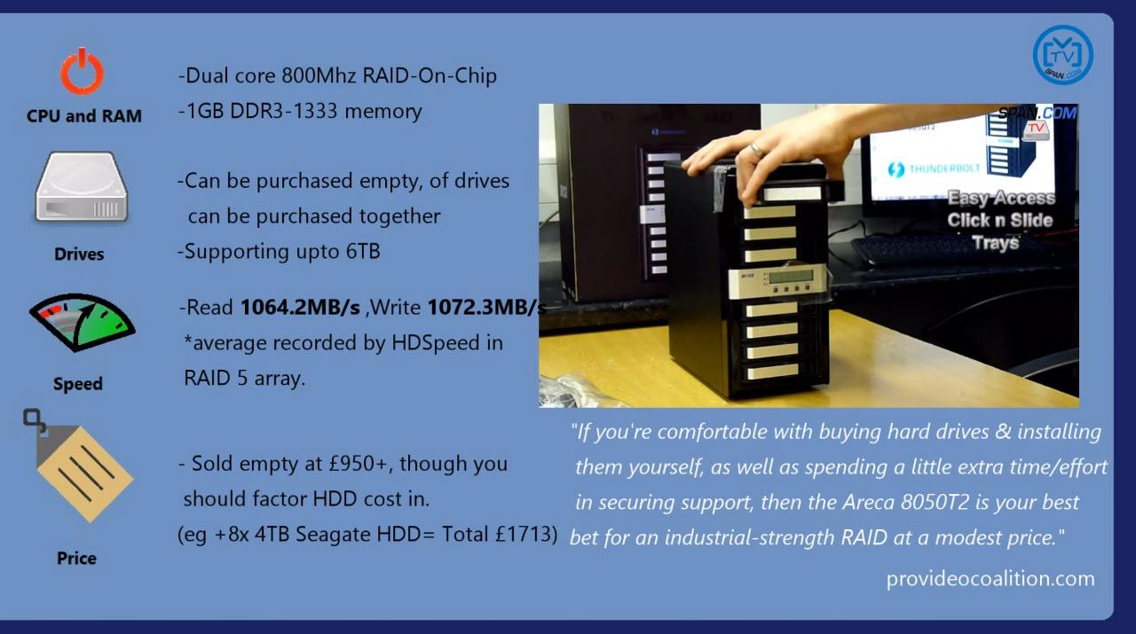 Areca 8050 t2 871T thundebolt 2 benchmark