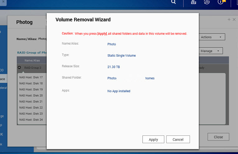 Qnap how to remove volume (5.1)