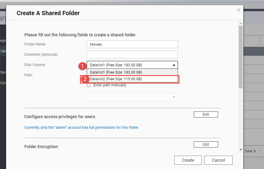 Qnap creating folder second RAID (2)
